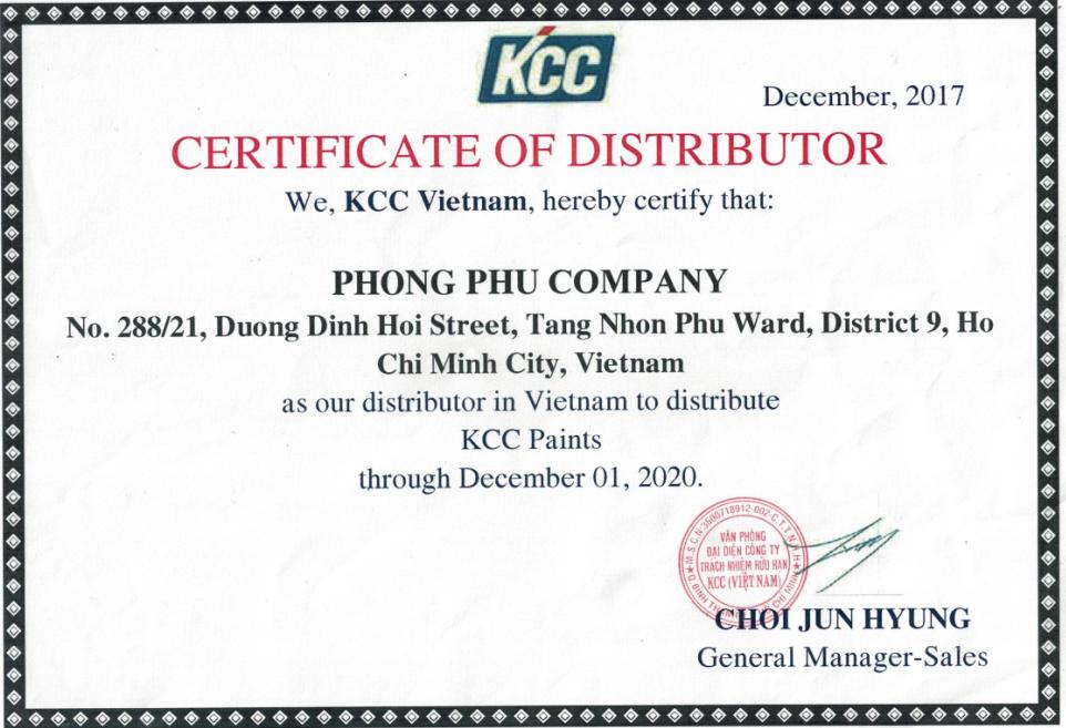 Chứng nhận phân phối từ hãng sơn KCC