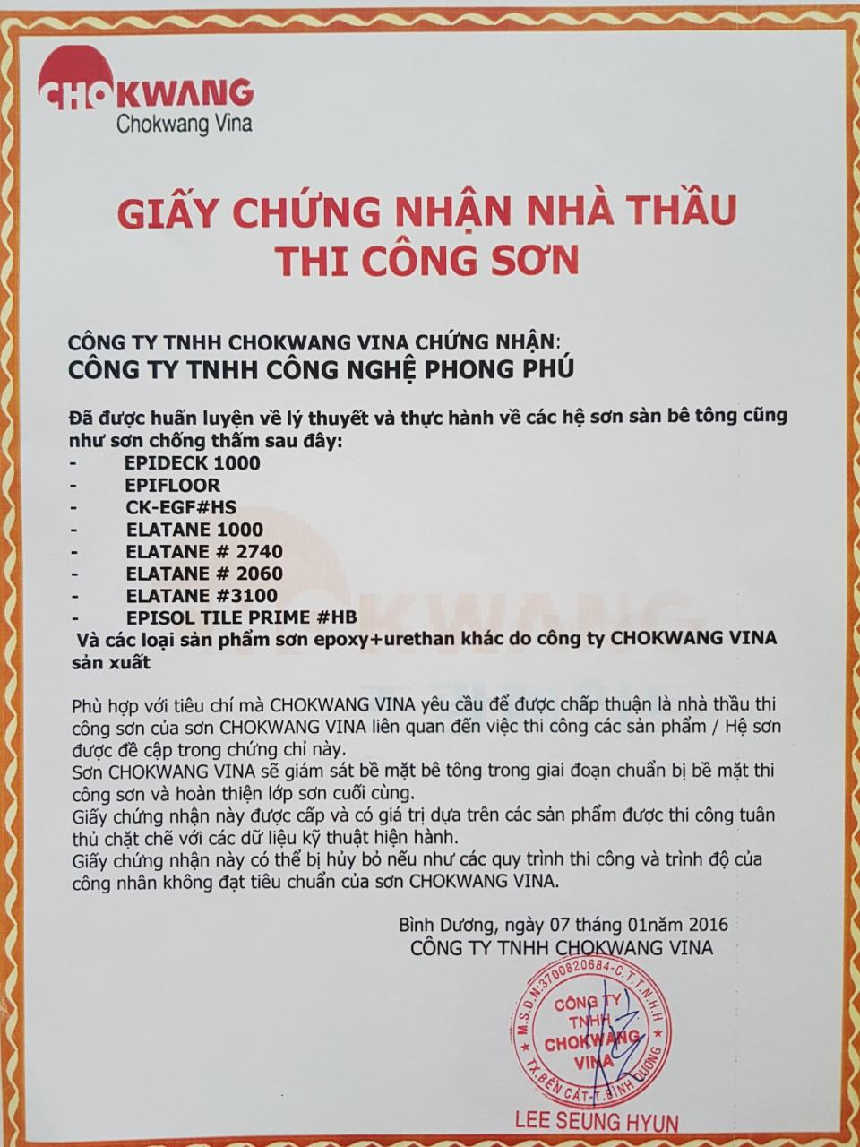 Chứng nhận phân phối từ hãng sơn chokwang